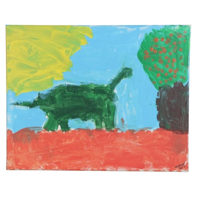 Maggie (Age 4) Dinosaur and Landscape Acrylic Painting