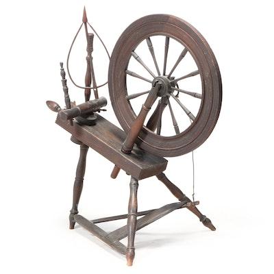 Primitive Wood Spinning Wheel, 19th Century