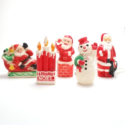 Illuminated Blow Mold Santa, Snowman and Candle Décor, Mid to Late 20th C.