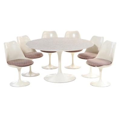 """Seven-Piece Eero Saarinen for Knoll Modernist """"Tulip"""" Dining Set"""
