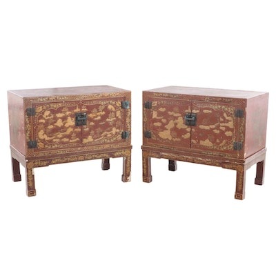 Pair of Chinese Red and Gilt Lacquer Cabinets-on-Stands