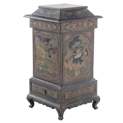 A Chinese Black and Gilt Lacquer Dining-Room Pedestal Cabinet