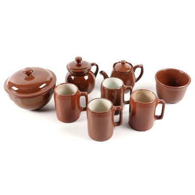 Buckeye and Other Brown Dip Glazed Pottery Tableware, Mid-20th Century