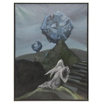 """Luc Simon Large-Scale Surrealist Oil Painting """"Ma Pierre de Nuit"""", 1965"""