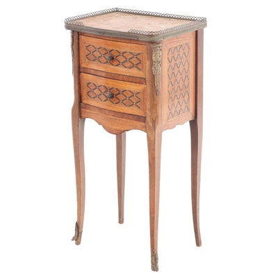 Louis XV Style Gilt Metal-Mounted Walnut, Marquetry, and Marble Top Side Table