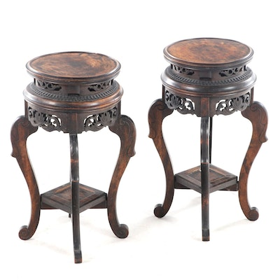 Pair Chinese Carved Hardwood Vase Stands