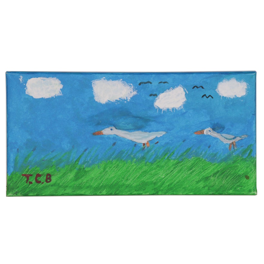 Acrylic Painting of Geese, 21st Century