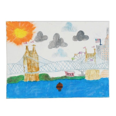 Annie King (Age 11) Ohio River and Cincinnati Skyline Acrylic Painting