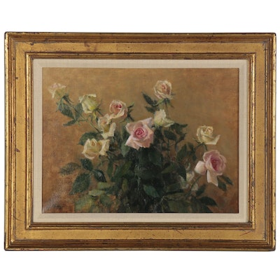 Floral Still Life Oil Painting of Roses, Late 20th Century