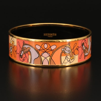 Hermès Enamel Horse Bangle with Box