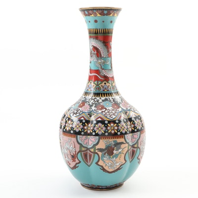 Japanese Cloisonné Vase with Dragon Motif