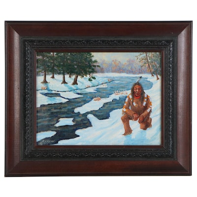 Samson Crew Oil Painting of Man in Winter Landscape, 21st Century