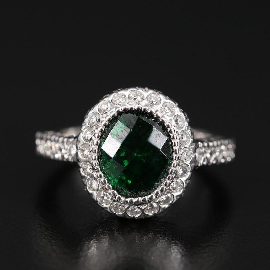 14K 3.97 CT Tsavorite and Diamond Halo Ring