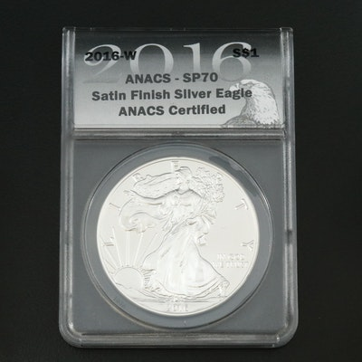 ANACS Graded SP70 2016-W American Silver Eagle with Satin Finish