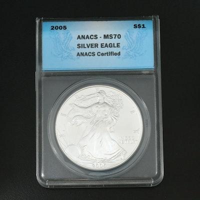 ANACS Graded MS70 2005 $1 American Silver Eagle