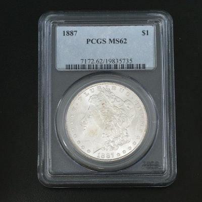 PCGS Graded MS62 1887 Morgan Silver Dollar