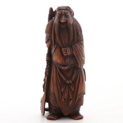 Japanese Carved Wood Figure of a Sage