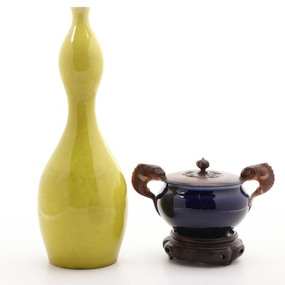 Chinese Double Gourd Vase and a Two Handle Covered Bowl on Wood Stand