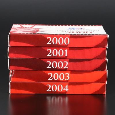 Five U.S. Mint Silver Proof Sets, 2000–2004