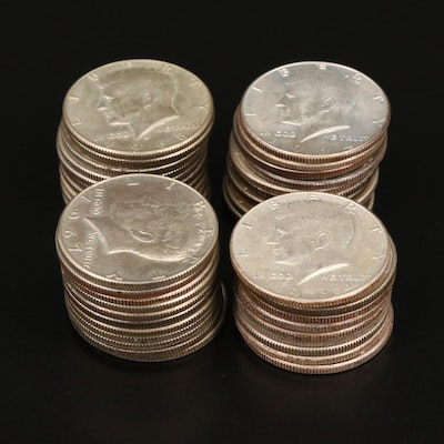 Forty-One Silver and Silver-Clad Kennedy Half Dollars