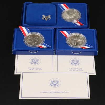 One Proof and Two Uncirculated Statue of Liberty Commemorative Silver Dollars