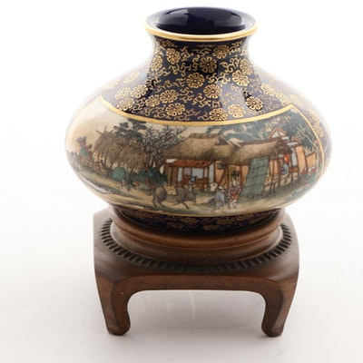 Small Japanese Satsuma Vase on Wood Stand