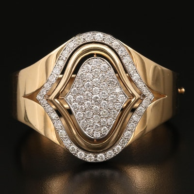 14K 5.25 CTW Diamond Arabesque Hinged Bracelet