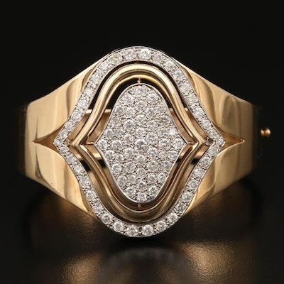 14K 5.25 CTW Diamond Arabesque Hinged Bracelet
