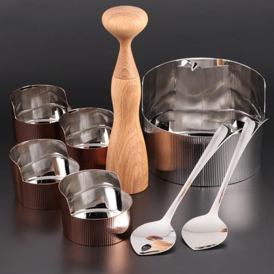 "Georg Jensen ""Urkiola"" Stainless Bowls, Wooden Pepper Mill and Salad Servers"