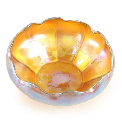 Louis Comfort Tiffany Etched Grape Vine Favrile Glass Bowl