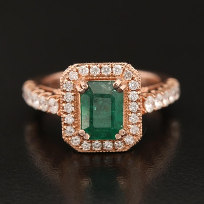 14K Rose Gold 1.72 CT Emerald and 1.03 CTW Diamond Ring