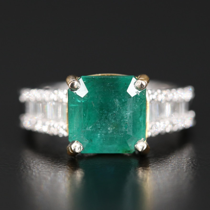 14K 4.29 CT Emerald and Diamond Ring
