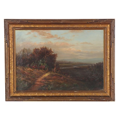 Romanticist Style Landscape Oil Painting of Valley, Late 19th Century