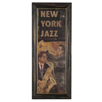 """Offset Lithograph Sign after Joseph Bonet Subirats """"New York Jazz"""""""
