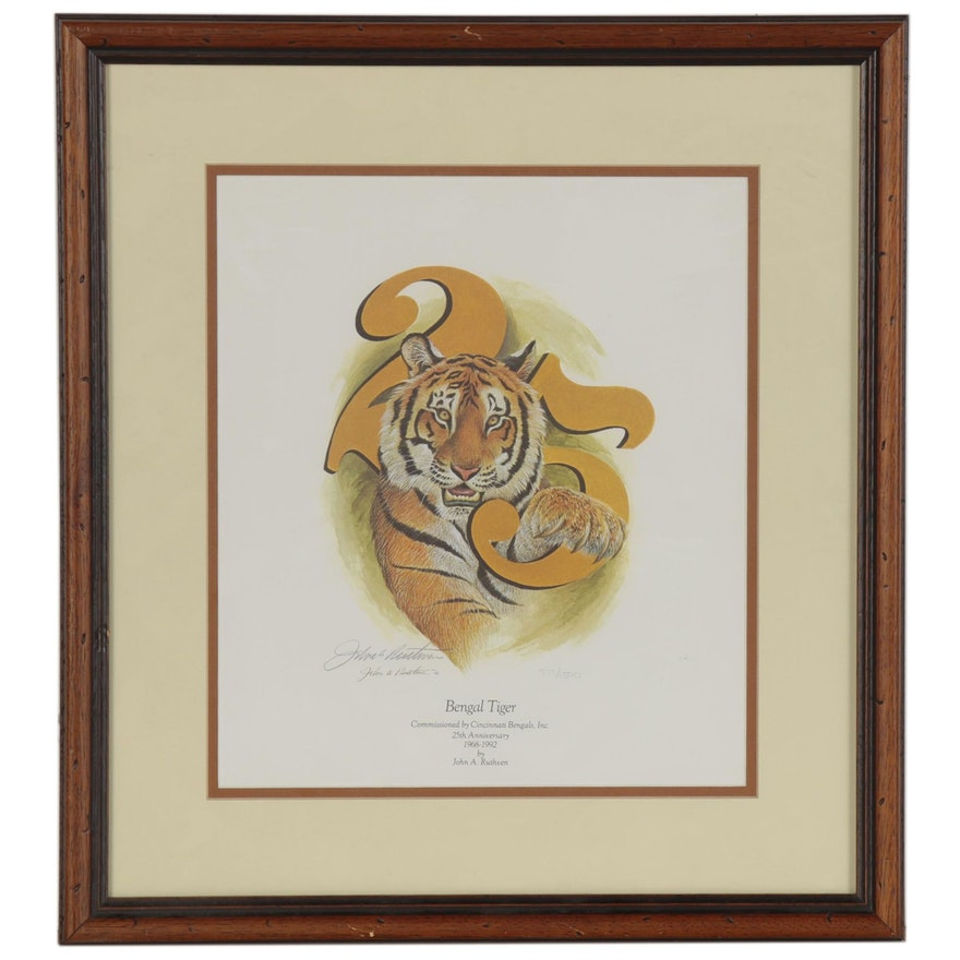 """John Ruthven Offset Lithograph """"Bengal Tiger"""" Commissioned by Cincinnati Bengals"""