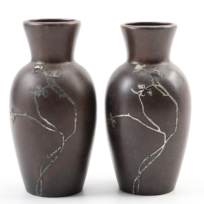 Pair of Heintz Arts and Crafts Bronze Vases with Sterling Overlay
