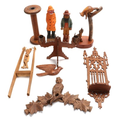 Handcrafted Wooden Toys, Figurines, Decorative Wood Shelf, and More, Mid-20th C