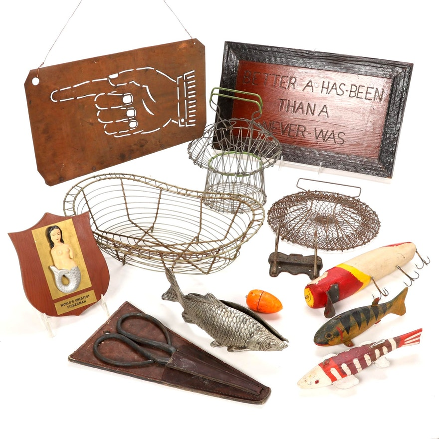 Fishing and Other Themed Wall Decor, Baskets and Tools