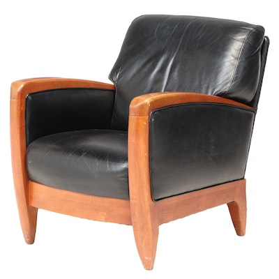Art Deco Style Black Leather Club Chair, Late 20th Century