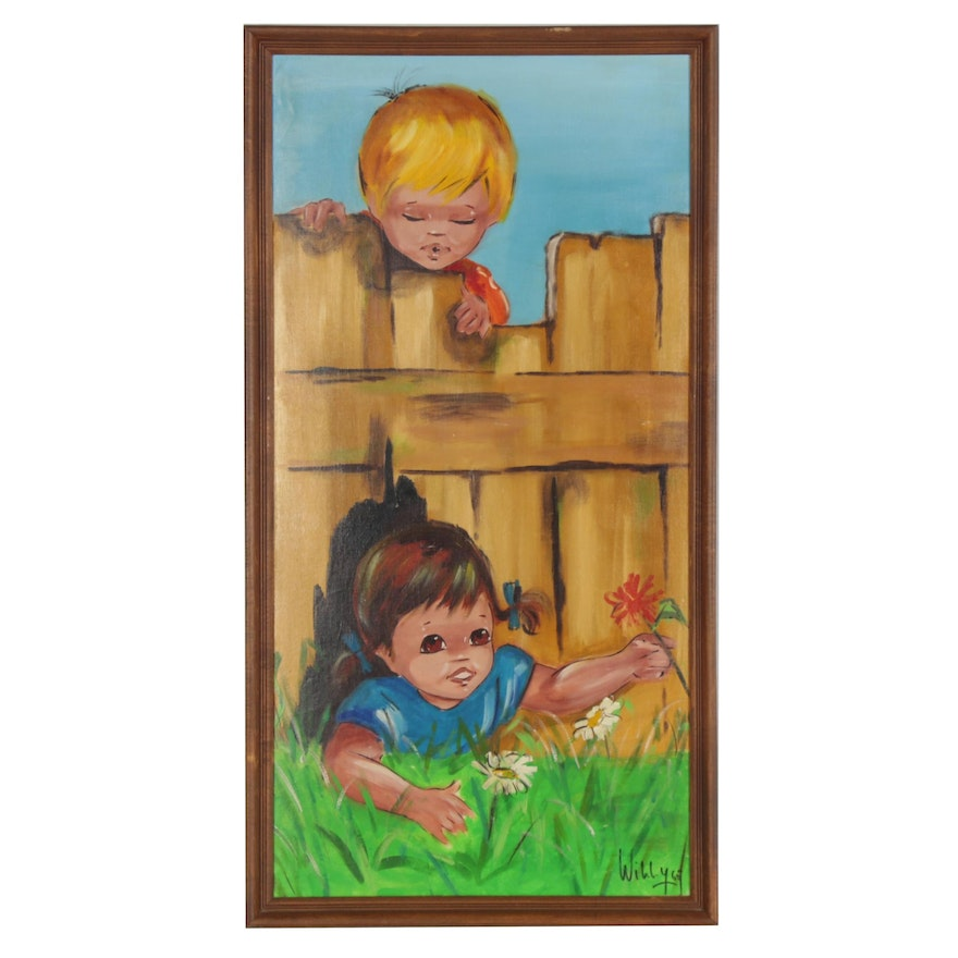 Acrylic Painting of Kids Playing by the Fence, 1965