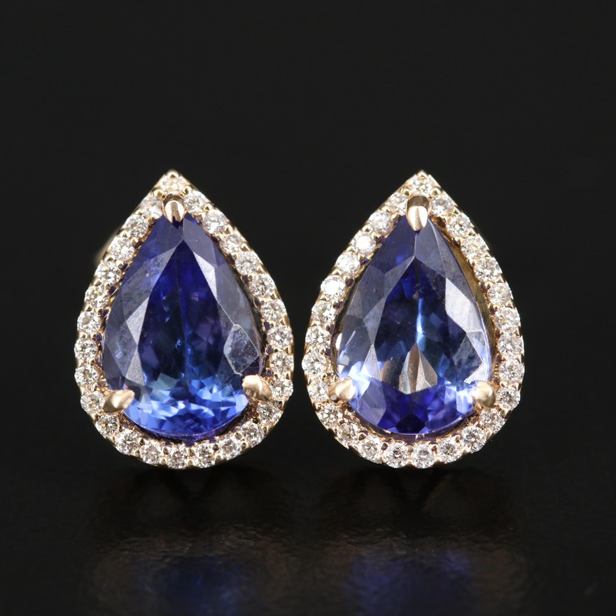 14K Tanzanite and Diamond Earrings