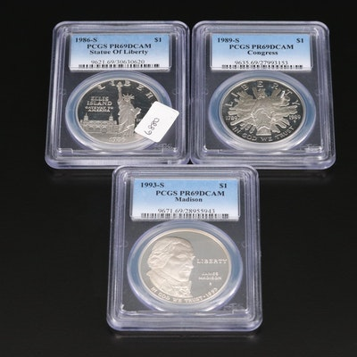 Three PCGS Graded PR69DCAM Commemorative Silver Dollars