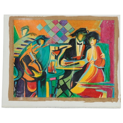 "Peter Maxwell Serigraph ""Dining Out,"" 21st Century"
