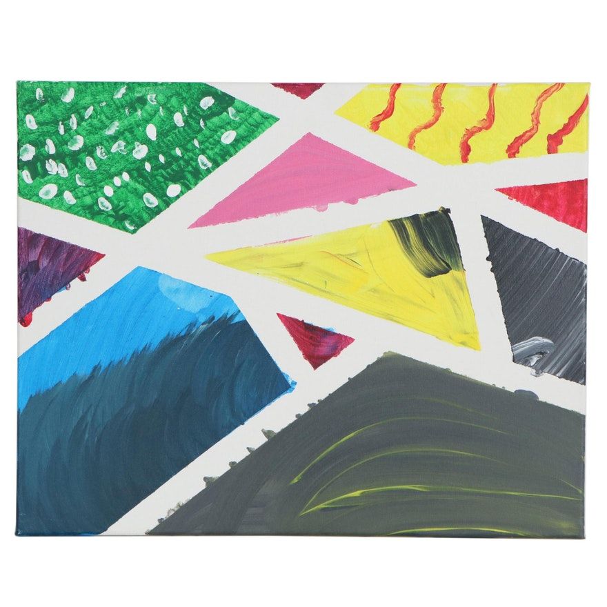 Parker (Age 2) Colorful Geometric Abstract Acrylic Painting