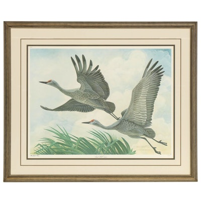 """John A. Ruthven Offset Lithograph """"Sand Hill Cranes"""""""