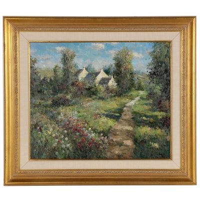 Impressionist Style Landscape Oil Painting of House with Flower Field