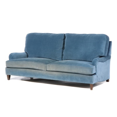 Hickory Springs Velvet Upholstered Two-Cushion Sofa