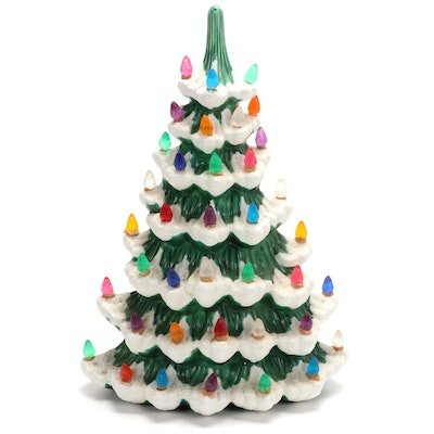 Atlantic Mold Flat-Back Ceramic Table Top Christmas Tree, Mid-20th Century