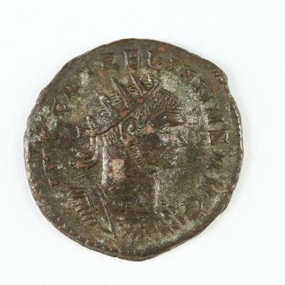 Ancient Roman Imperial AE Antoninianus Coin of Aurelian, ca. 270 A.D.