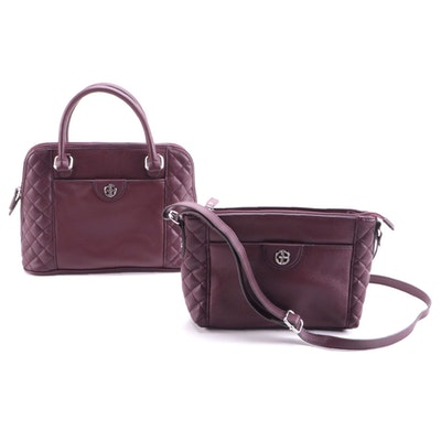 Giani Bernini Maroon Quilted Leather Top Handle Bag and Crossbody Bag